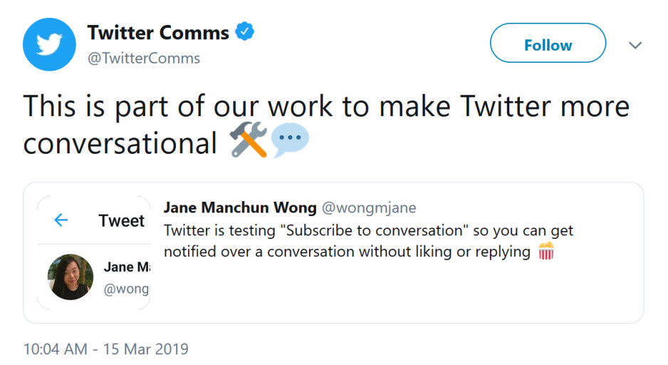 Twitter is testing a new way for members to follow a thread - Twitter confirms it is testing a new feature that will make it easier to use the app