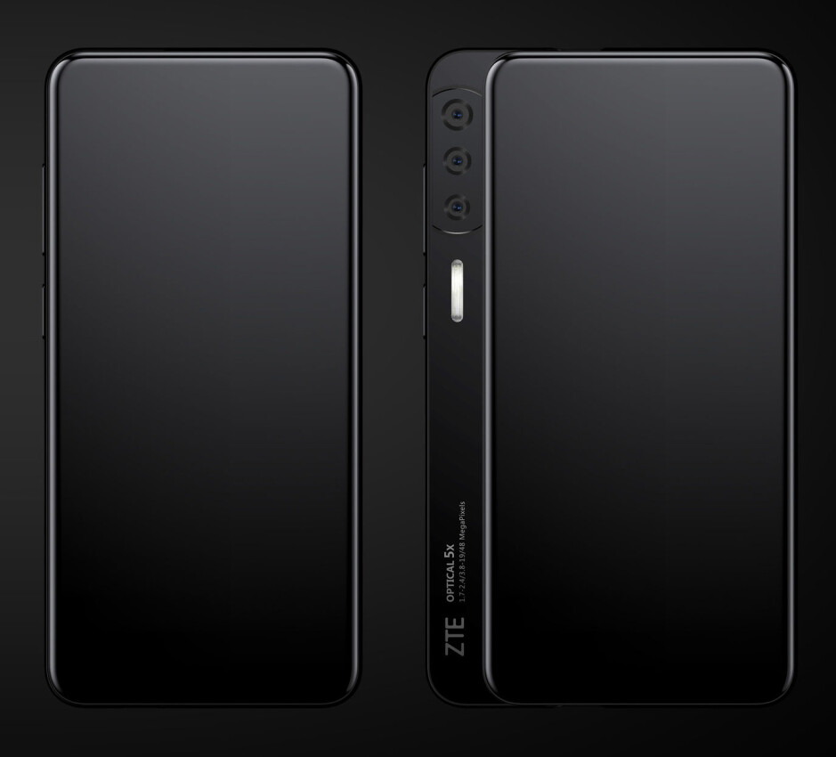 The ZTE Axon S uses a side sliding panel to house its cameras - Renders show two new ZTE concept phones that are practically all screen