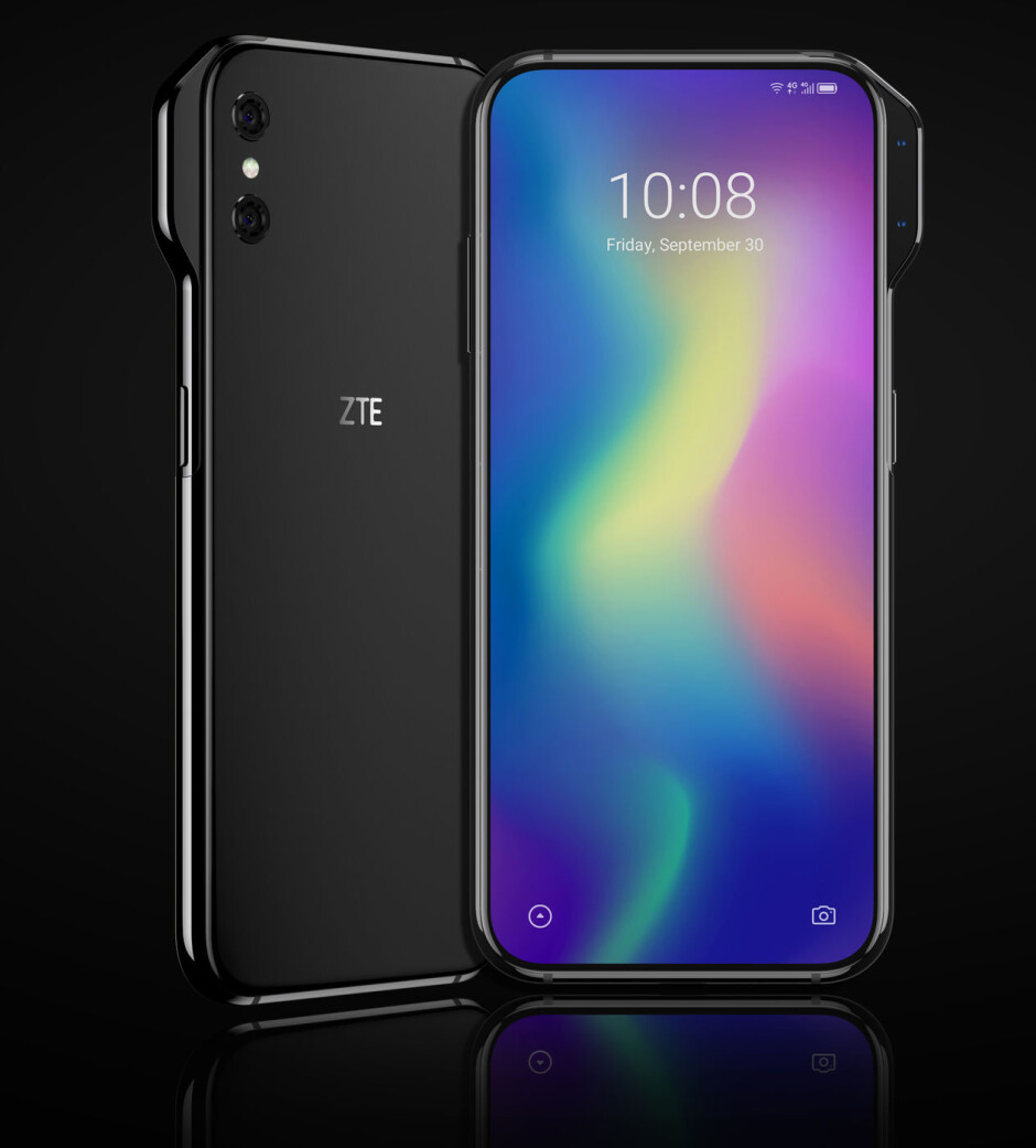 ZTE Axon V render reveals a dedicated panel that hosts the front-facing cameras - Renders show two new ZTE concept phones that are practically all screen