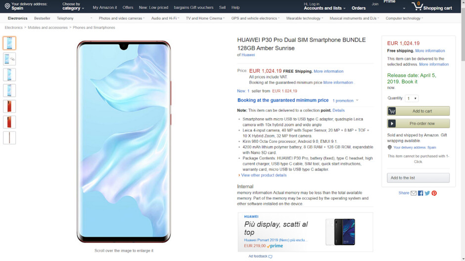 Amazon accidentally lists the Huawei P30 Pro - Amazon boo boo gives us the release date and more for the Huawei P30 Pro