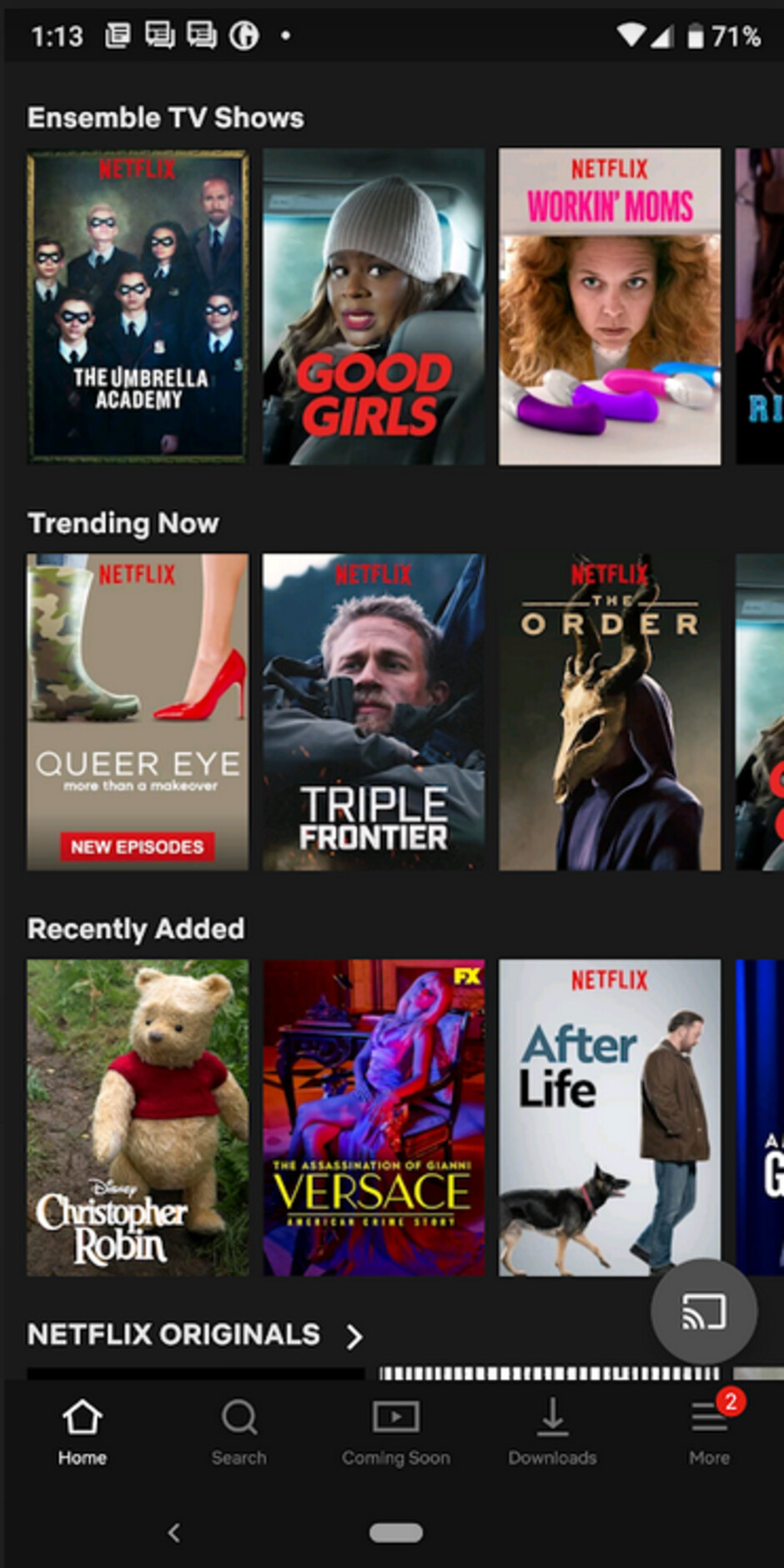 The current grid-based UI used by Netflix for its Android app - Netflix CEO hints that a major redesign is coming