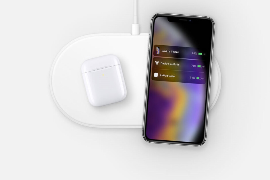 AirPower charging iPhone XS and AirPods - New AirPower image with iPhone XS and AirPods found on Apple's website