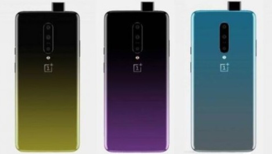 Render of the OnePlus 7 in its three color options, showing the pop-up selfie camera and vertically mounted triple camera setup - OnePlus 7 renders show off the phone's cameras and its three color options
