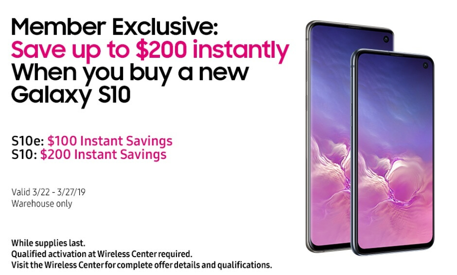 Costco offers big instant savings on the Galaxy S10 and S10e with (almost) no strings attached
