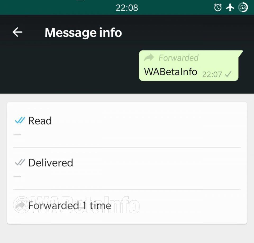 La versione beta di WhatsApp consente agli utenti di vedere quante volte è stato inoltrato un messaggio ricevuto