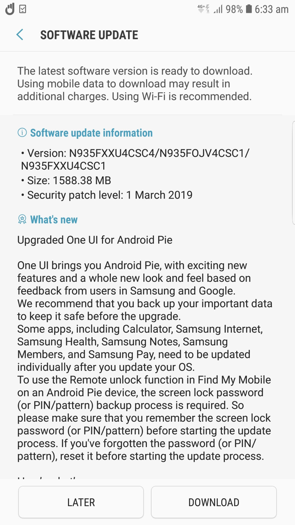 The non-exploding Samsung Galaxy Note 7 is getting Android 9.0 Pie