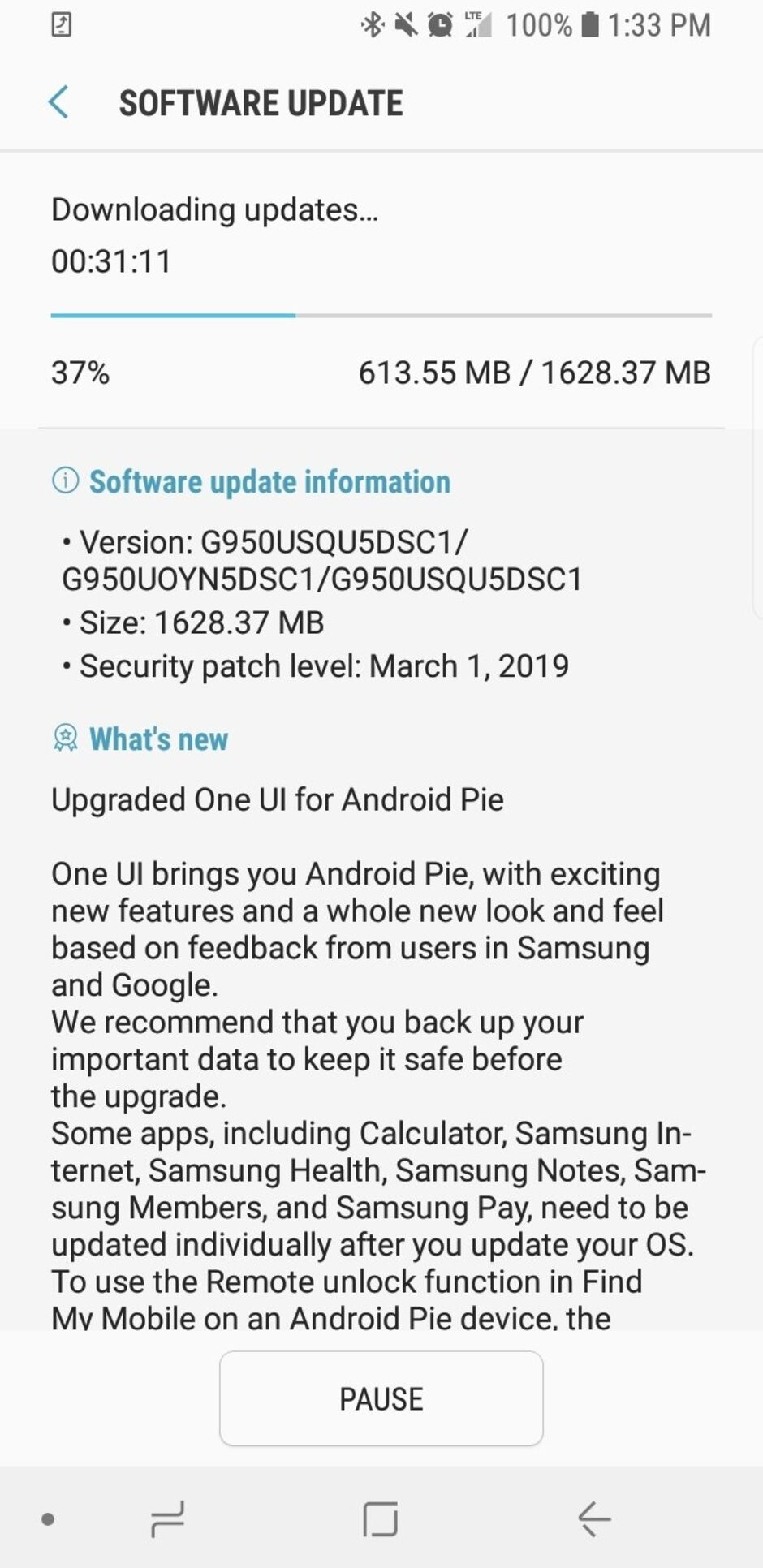 Another US carrier starts rolling out Android 9.0 Pie for Samsung Galaxy S8/S8+