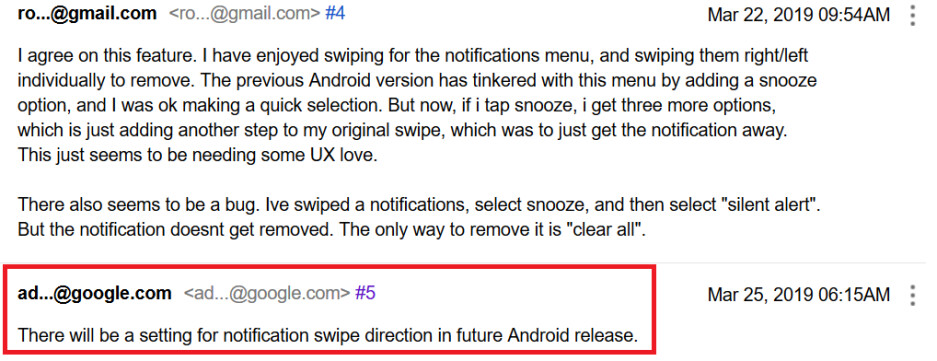 Google to add setting to Android to allow a swipe from either side to delete notification - Google says it will bring back feature it removed with first beta version of Android Q