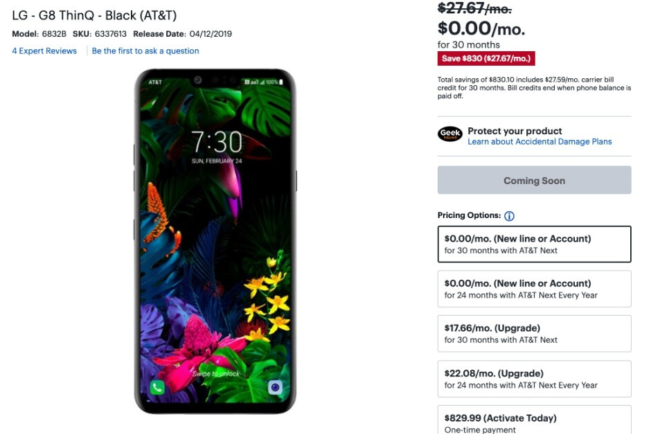 Best Buy lists LG G8 ThinQ at $0 with AT&T installments