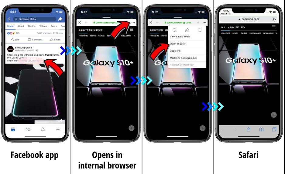 Facebook app - Facebook and Messenger: how to open links in external browser