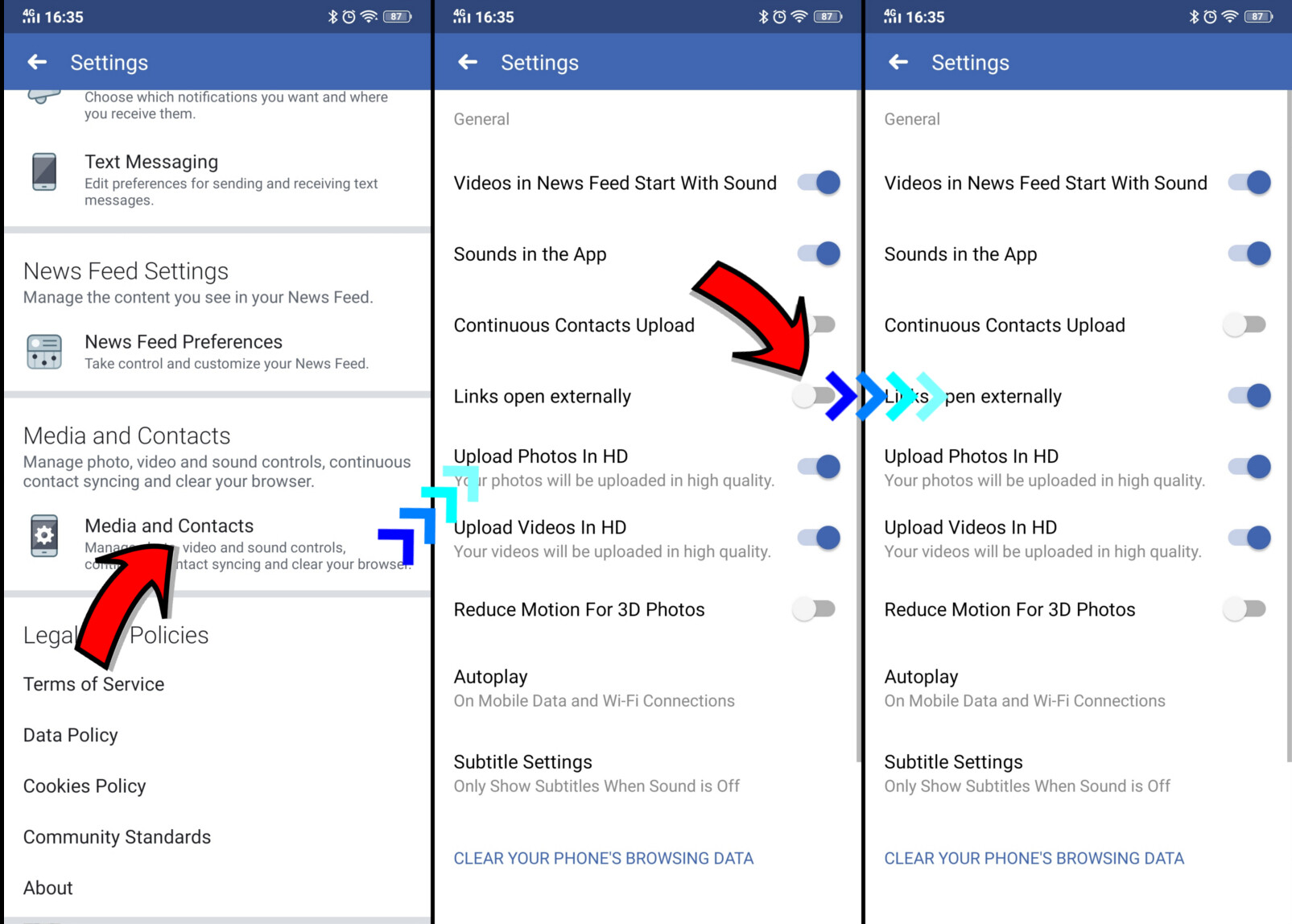 Facebook and Messenger: how to open links in external