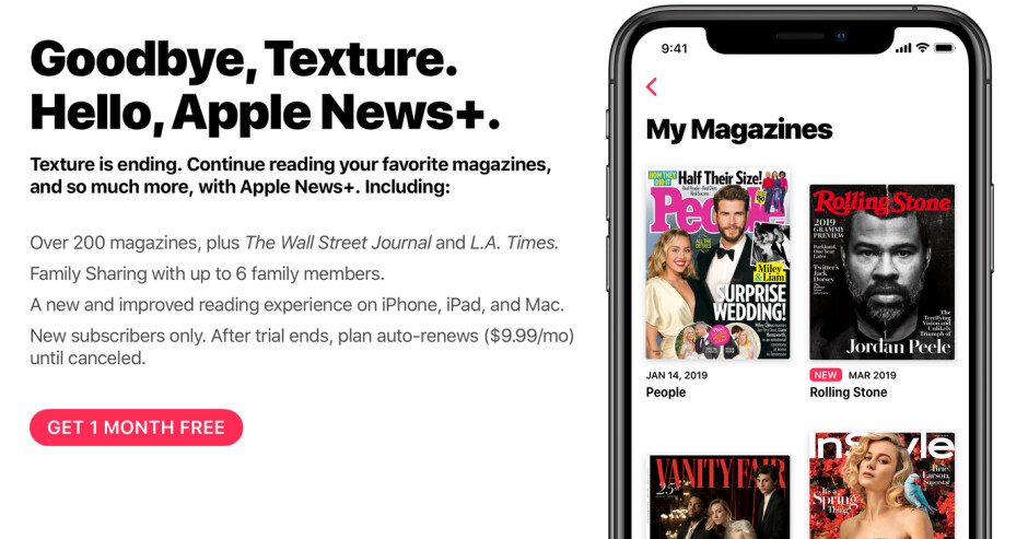 Apple is closing Texture on May 28th - With Apple News+ available, Texture will close on May 28th