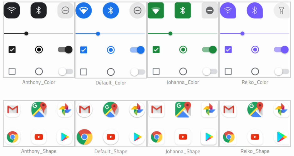 These are the customization overlays that will be available from the Pixel Themes app - Google will allow Pixel owners to customize the icons on their phone