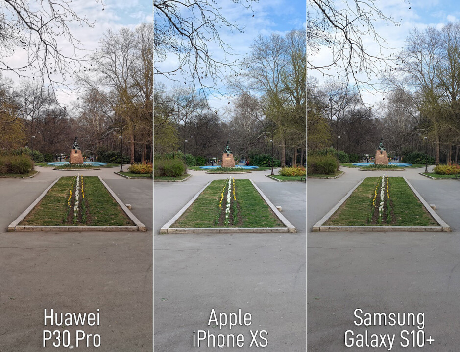 Shot with the main 1X camera on all phones - What difference does 5x telephoto camera on Huawei P30 Pro make? We compare against iPhone XS and Galaxy S10+