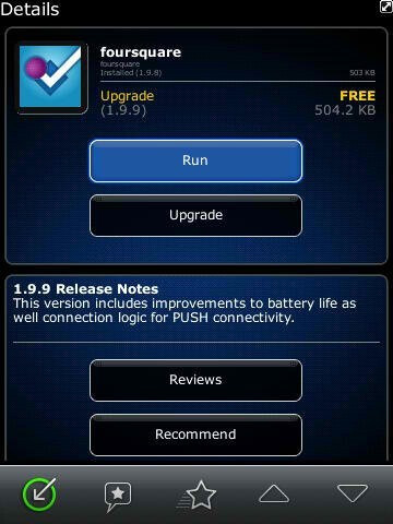 Foursquare for BlackBerry v1.9.9 is available - Foursquare app for BlackBerry is updated to version 1.9.9