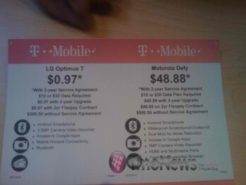 Great deals on the LG Optimus T & Motorola DEFY at Walmart
