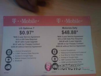 Great deals on the LG Optimus T & Motorola DEFY at Walmart