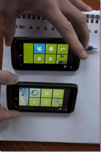Two new HTC 7 Trophy handsets showing off different color productions