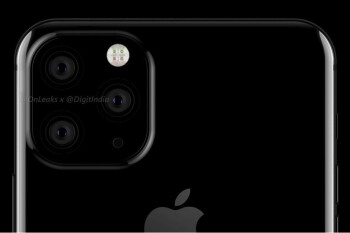 Render of Apple iPhone 11 shows a triple-camera setup
