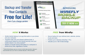 Wirefly is offering their own free mobile backup service for a variety of platforms