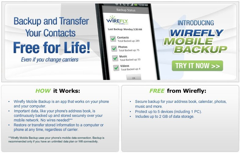 Wirefly is offering their own free mobile backup service for a variety of platforms - Wirefly is now offering their very own free mobile backup service