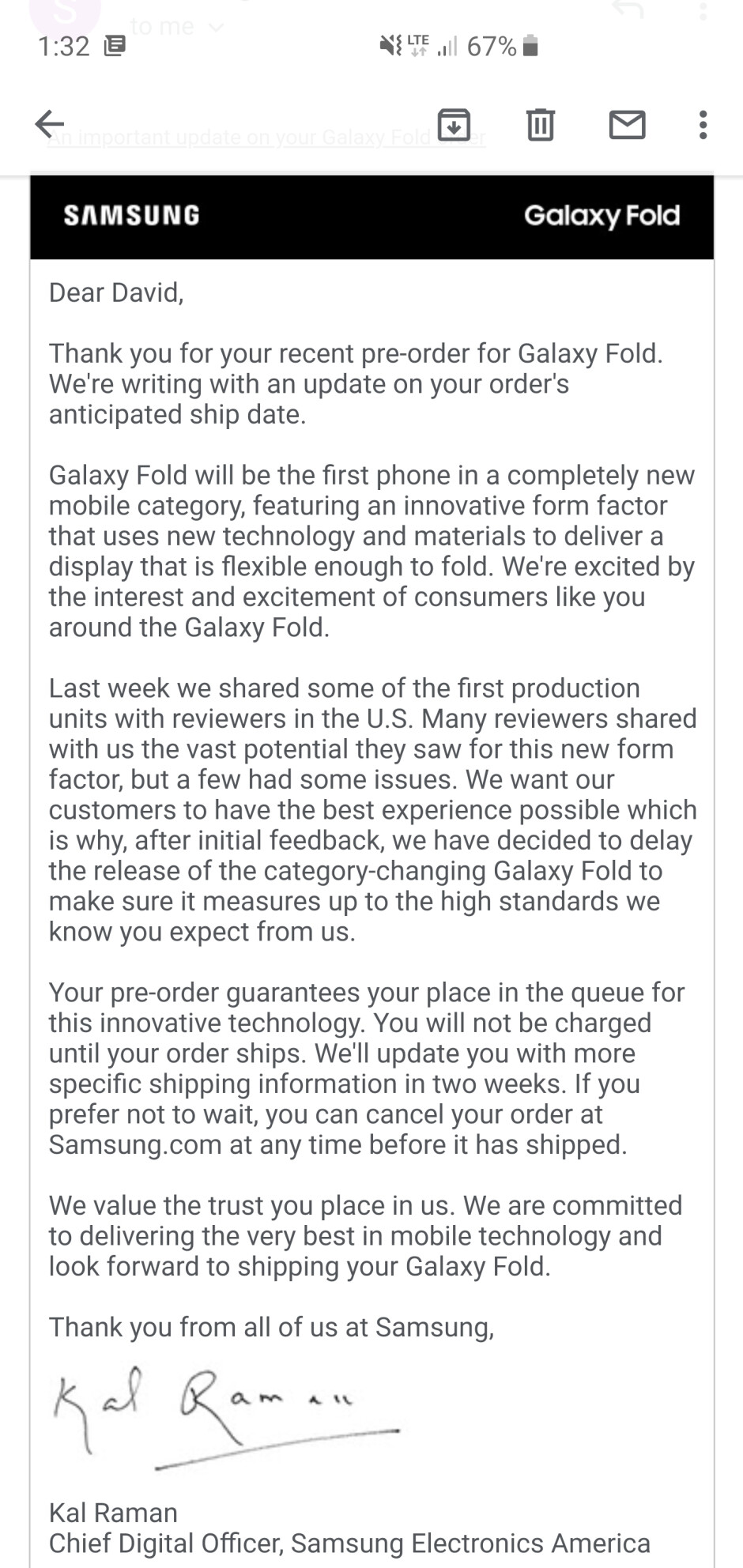 New Galaxy Fold release date coming in 'two weeks,' here's the pre-order delay notice to early adopters