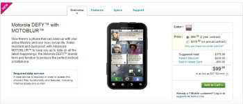 Motorola DEFY is now available through T-Mobile for $99.99 with a 2-year contract
