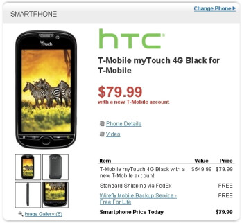 T-Mobile myTouch 4G is selling for $79.99 with a contract