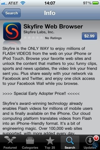 Skyfire for the iPhone is now available for $2.99