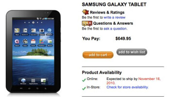 Samsung Galaxy Tab for Bell will sell for $649.95