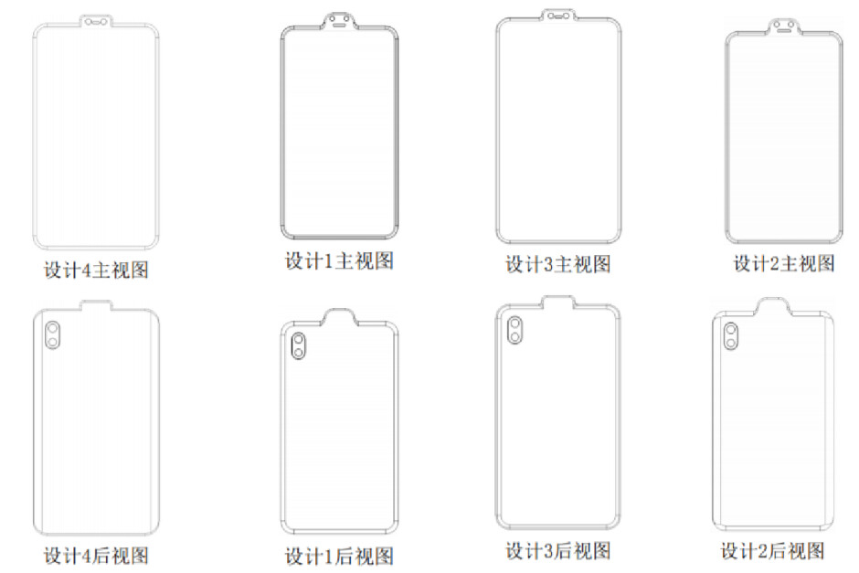 Different inverted notch smartphone designs - Xiaomi just patented a phone with a weird-looking inverted notch