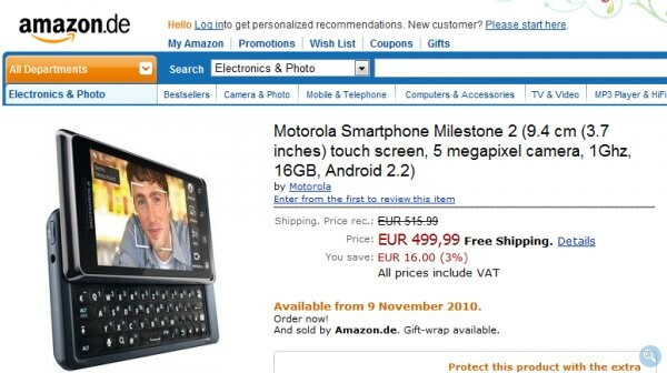 Amazon Germany is accepting orders for the Motorola MILESTONE 2 - Amazon Germany is now accepting order for the Motorola MILESTONE 2