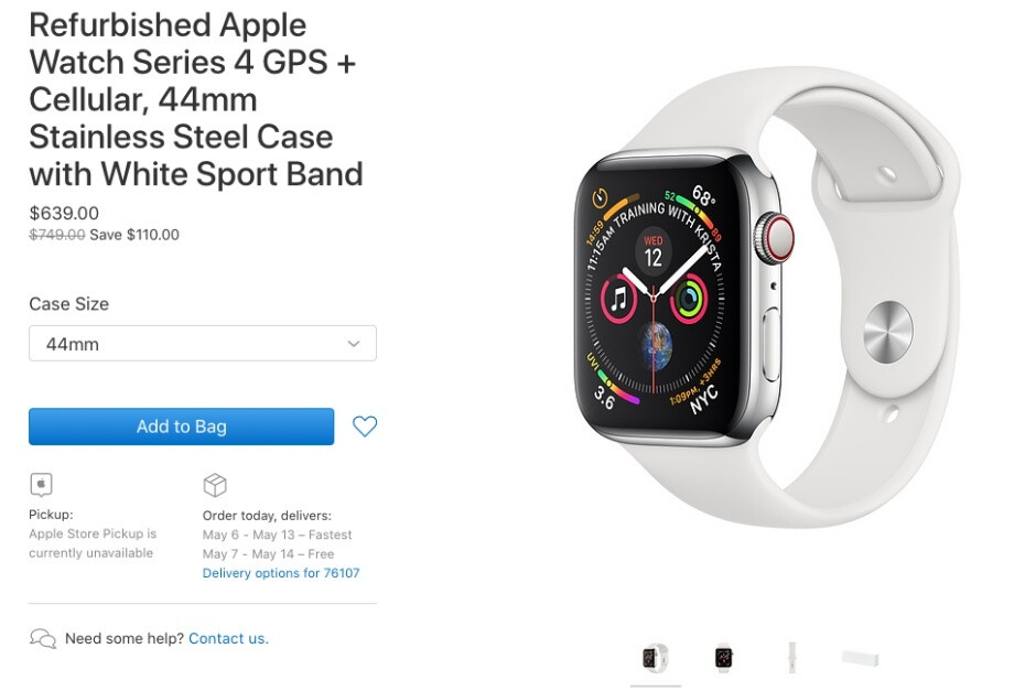 Refurbished Apple Watch Series 4 available from the company, but not for long