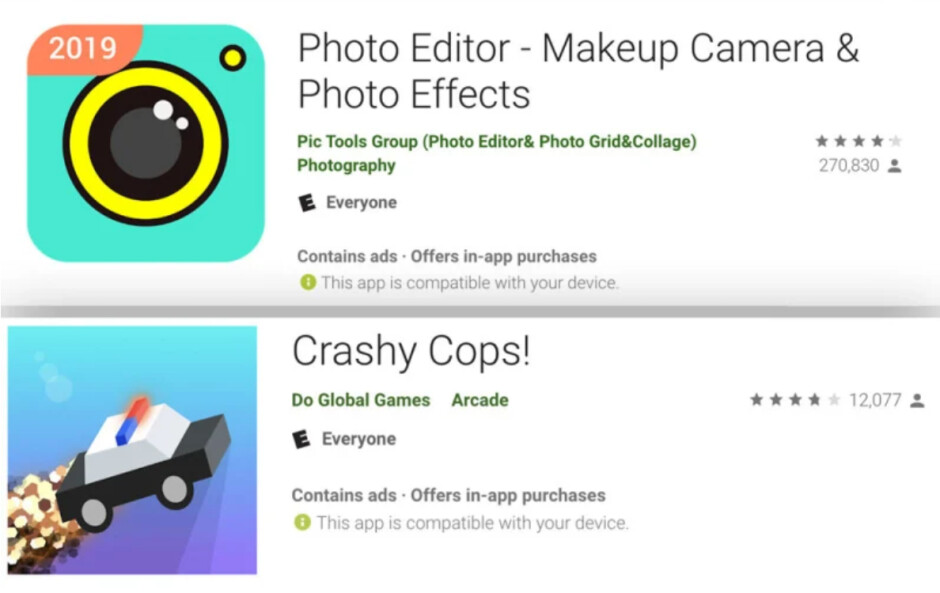 Two of the apps removed from the Google Play Store - Google removes apps from the Play Store for ad fraud and other violations