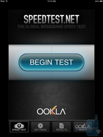 Testing data speed on the iPad