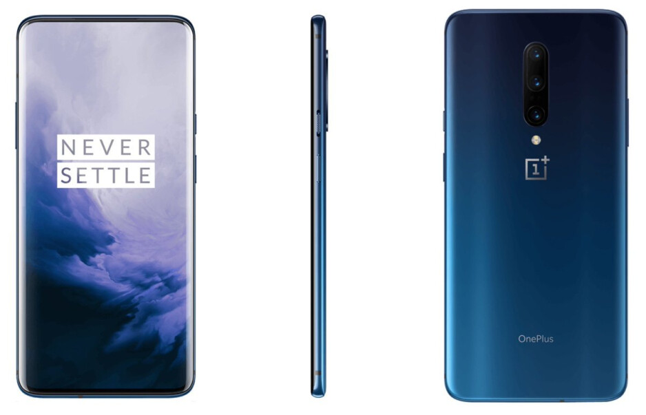 This is the OnePlus 7 Pro in Almond, Nebula Blue, and Mirror Grey