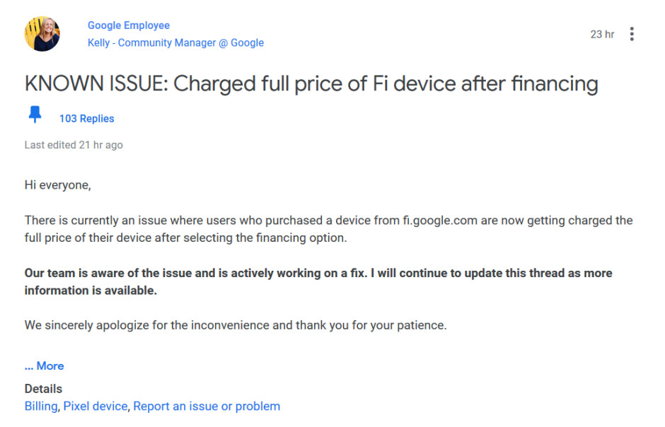 Many Google Fi subscribers were charged full price during a one-day 50% off Pixel 3 sale - Huge goof by Google drains Fi subscribers' bank accounts