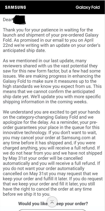 Samsung is giving those who pre-ordered a Galaxy Fold some options - Those who pre-ordered the Galaxy Fold from Samsung have to make a decision