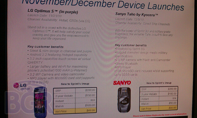 Upcoming at Sprint-The LG Optimus S, the Sanyo Tahoe (L) and the Samsung Galaxy Tab (R) - Sprint's future includes BlackBerry Style 9670 BOGO, Sanyo Tahoe and LG Optimus S