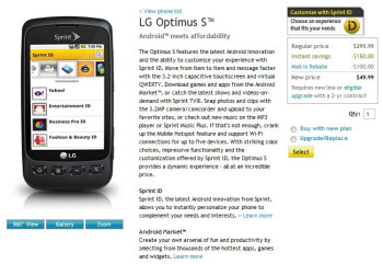 LG Optimus S for Sprint is selling for $49.99 with a contract