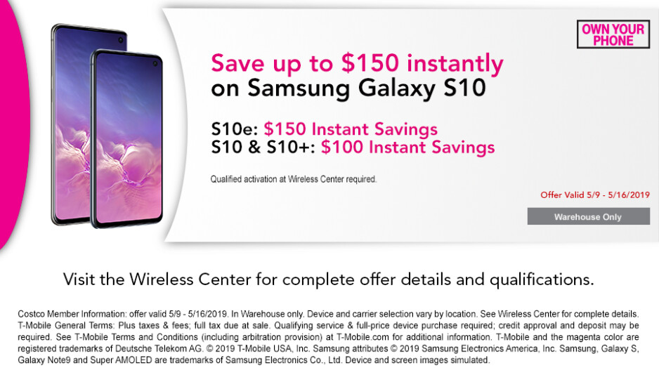 T-Mobile's Samsung Galaxy S10 phones are up to $200 off at Costco
