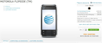 Motorola FLIPSIDE for AT&T is now available online for $99.99 with a contract