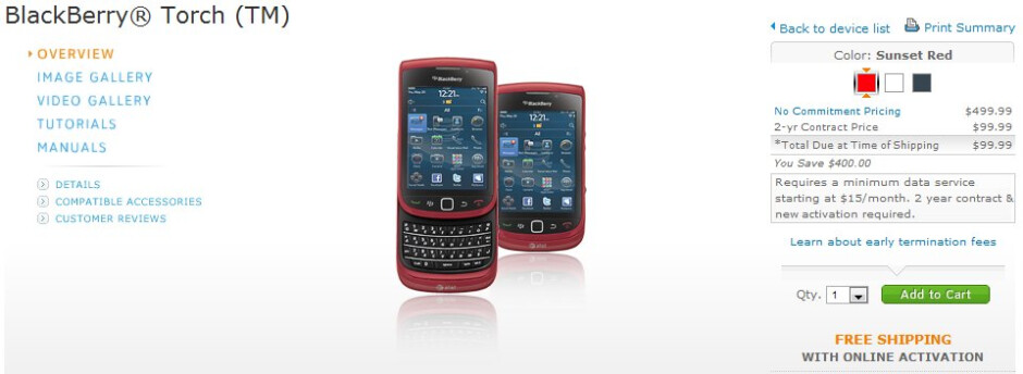 AT&T slashes the price of the BlackBerry Torch 9800 in half to $100 - AT&T drops the price of the BlackBerry Torch 9800 to $100