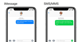 Encrypted iMessage on left, unencrypted SMS on right