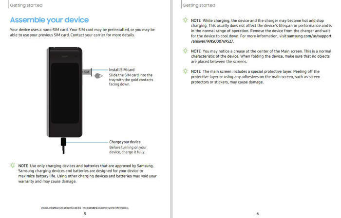Galaxy Fold's manual for AT&T includes top layer and crease notes - Leaked AT&T Galaxy Fold manual warns against peeling the screen off, dubs crease 'normal'