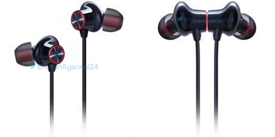 Official renders of the OnePlus Bullets Wireless 2 earphones - Official renders leak of some OnePlus 7 and 7 Pro accessories including the Bullets Wireless 2