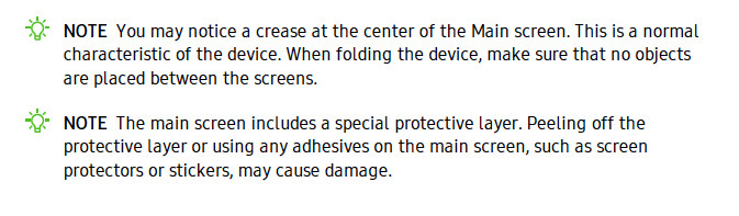 Leaked AT&T Galaxy Fold manual warns against peeling the screen off, dubs crease 'normal'