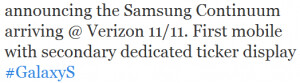 Tweet from manufacturer confirms November 11th launch of Samsung Continuum on Verizon