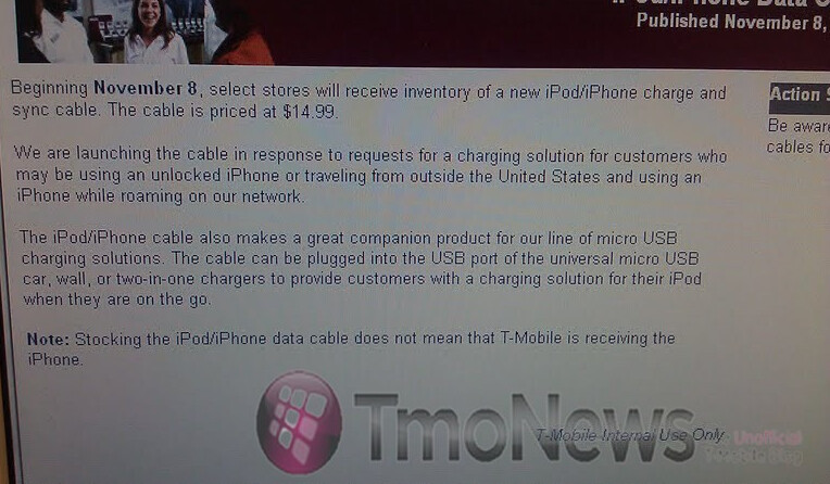 T-Mobile tells employees the reason why certain stores are offering proprietary cables for the Apple iPhone/iPod - T-Mobile explains why it is offering the Apple iPhone cable