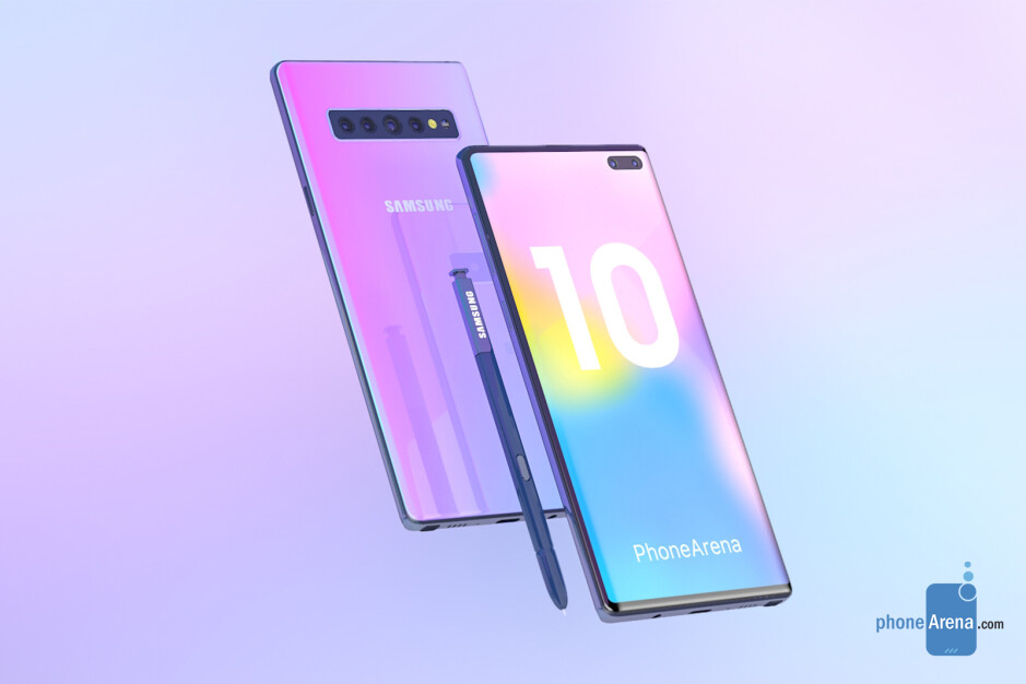 Samsung Galaxy Note 10 concept render - The Galaxy Note 10 could be sold in these six colors